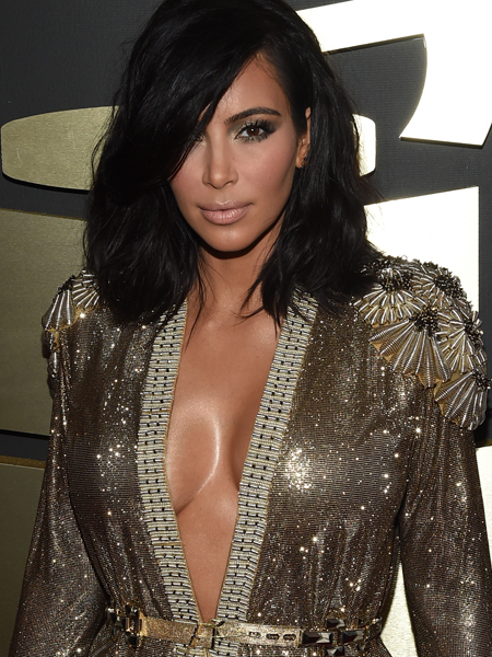 Pic! Kanye Grabs a Handful of Kim K's Famous Booty on Grammys Red Carpet