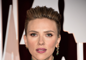 Scarlett Johansson Rocks 'Miley' 'Do with Jewel-Toned Versace Gown