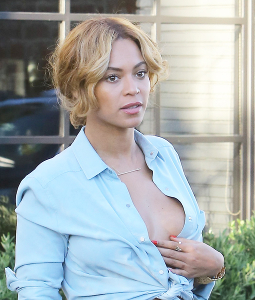 Beyoncé's Blouse Can Barely Contain Her… and She's Not Wearing a Bra!