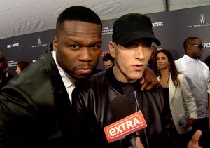 50 Cent Crashes Eminem's 'Extra' Interview at 'Southpaw' Premiere