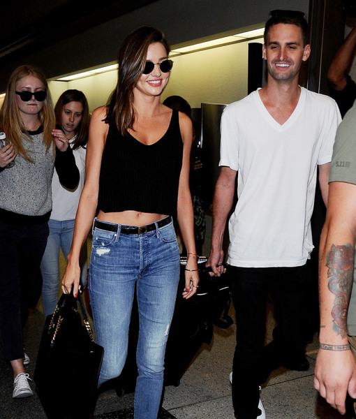 Miranda Kerr & Evan Spiegel Pack on PDA Before Paris Getaway