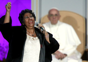 Mark Wahlberg and Aretha Franklin Headline Rally for the Pope