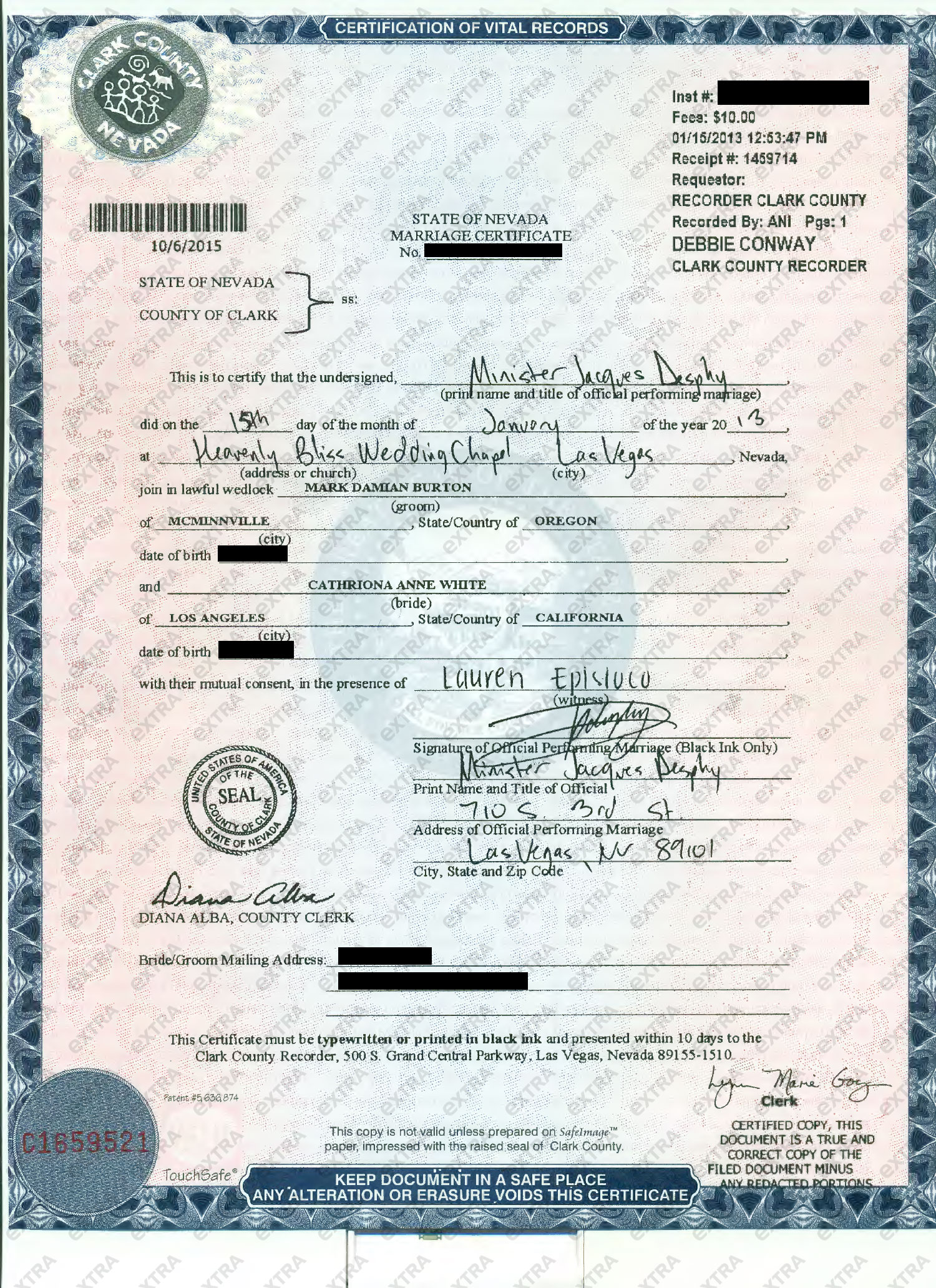 Jim carreys ex was married when she died extratv see the marriage certificate here xflitez Images