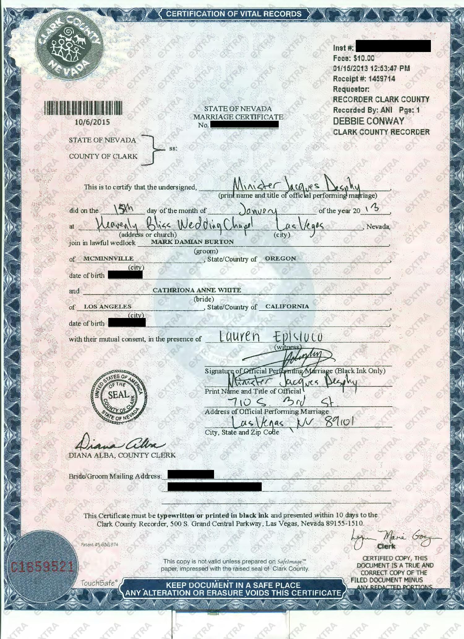 Las Vegas Marriage License Record Sample Certificates Nevada