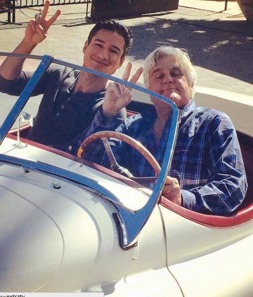 Jay Leno Crashes the 'Extra' Set, Talks Cars and Headlines