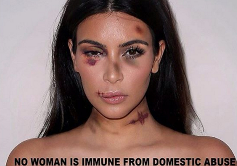 Kim K, Miley, and Others Bloodied and Bruised for Domestic Violence Awareness…