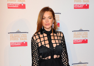 Lindsay Lohan Covers Topless Bikini Body with Volcanic Mud