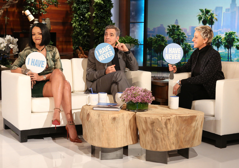 Watch George Clooney & Rihanna Answer Burning Questions in Ellen's 'Never Have I Ever' Game