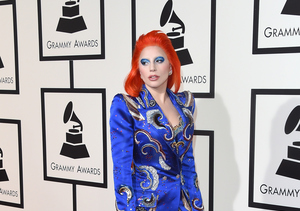 Lady Gaga Pays Tribute to David Bowie with Wild Grammys Red-Carpet Look