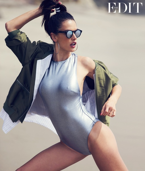 Alessandra Ambrosio wears jacket by 3.1 Phillip Lim, swimsuit by Prism, photographed by David Bellemere for The EDIT, NET-A-PORTER.COM