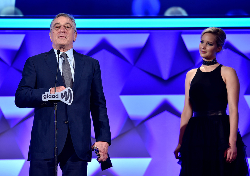 Jennifer Lawrence & Robert De Niro Tease Each Other, De Niro Slams Trump at GLAAD Awards