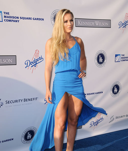 image See thru blue dress showing thong