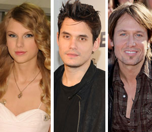 Taylor Swift catches John Mayer and Keith Urban in Concert