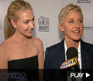 Ellen Degeneres and Portia DeRossi At The Genesis Awards