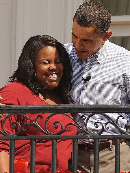 Amber Riley and Barack Obama
