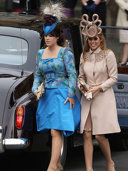 Colorful sister Princesses Eugenie and Beatrice showed up wearing unique  headwear with their wedding ensembles. Beatrice s monotone taupe Valentino  Haute ... 85735f72499