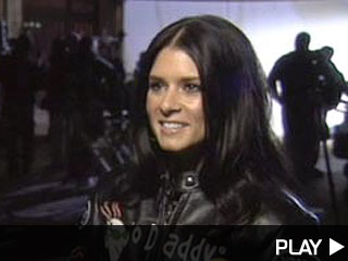 Indy 500 driver Danica Patrick on set of GoDaddy.com commercial