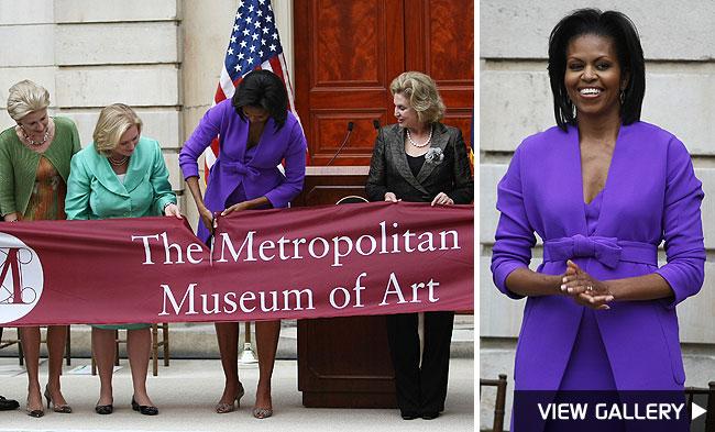 michelle obama cuts ribbon at metropolitan museum of art