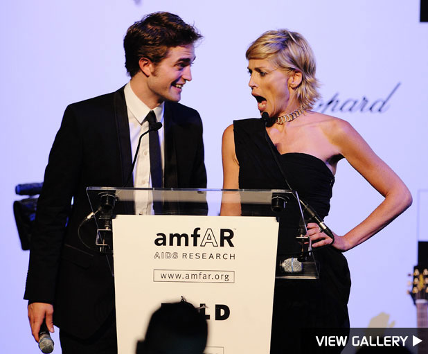 Sharon Stone auctions off kisses from Robert Pattinson
