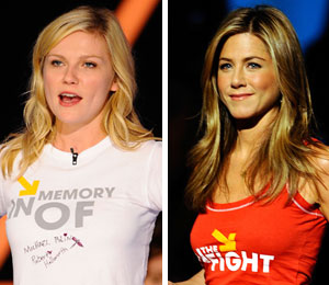 Kirsten Dunst and Jennifer Aniston at the Stand Up to Cancer show
