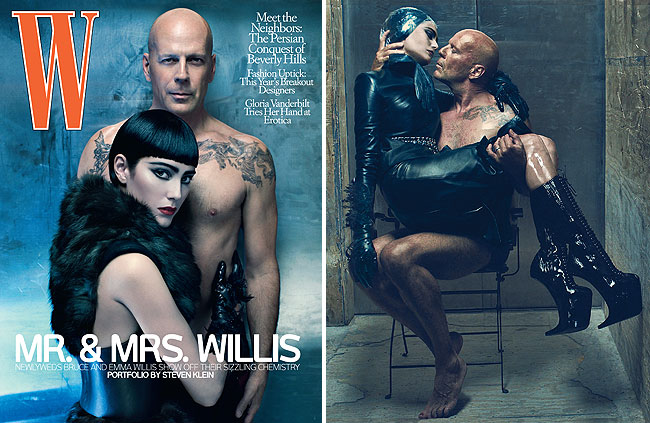 bruce willis and emma heming in a bondage shoot for w magazine