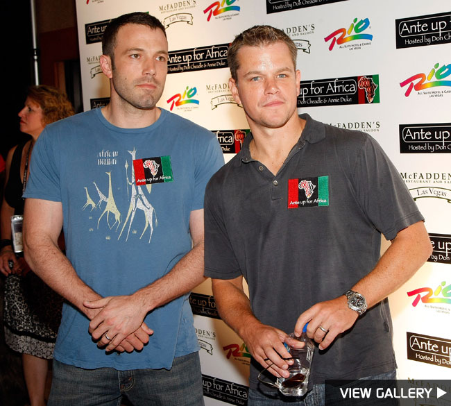 Ben Affleck and Matt Damon at the Ante Up for Africa celebrity poker tournament in Las Vegas