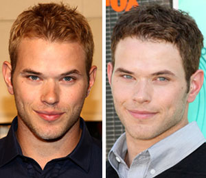 Natural blonde Kellan Lutz dyes his hair a darker hue to play Emmett Cullen in the 'Twilight' flicks.