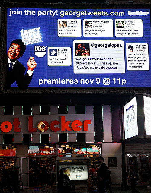 George Lopez Promotes New Show with Twitterboard