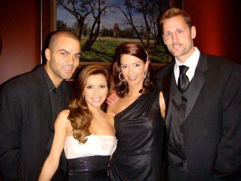 Eva Longoria, Tony Parker, Erin and Brent Barry