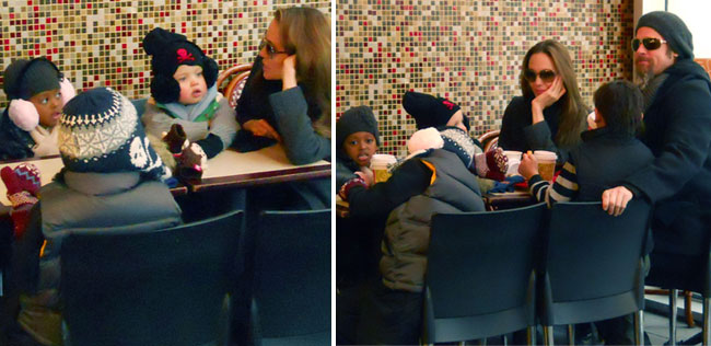 Brad Pitt, Angelina Jolie and Kids Bundle Up For Lunch
