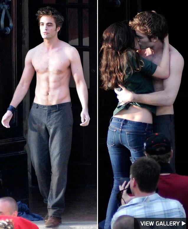 Robert Pattinson and Kristen Stewart film New Moon