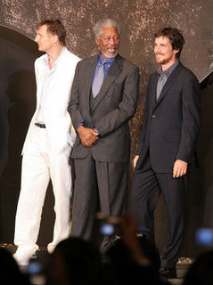 Liam Neeson, Morgan Freeman and Christian Bale | ExtraTV com