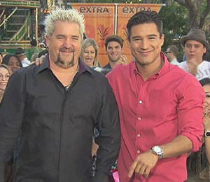 'Extra' Raw! Guy Fieri Challenges Mario at The Grove