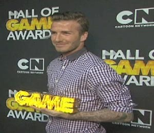 Video! David Beckham at Cartoon Network's Hall of Game