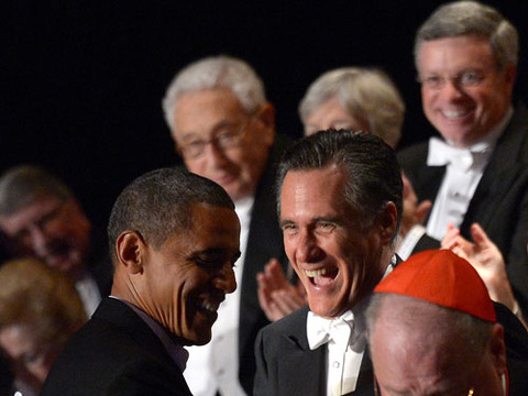 President Obama and Mitt Romney Trade Jokes and Jabs at Fundraiser