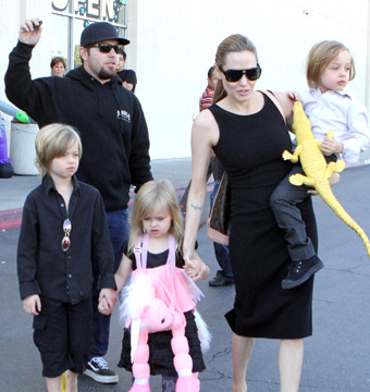 Angelina Jolie took Shiloh, Vivienne and Knox shopping at a Halloween store in…