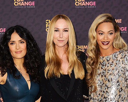 """Salma Hayek, Frida Giannini and Beyonce attended the """"Chime for Change: The…"""