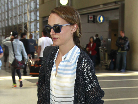 Natalie Portman, husband Benjamin Millepied and son Aleph were spotted at LAX…