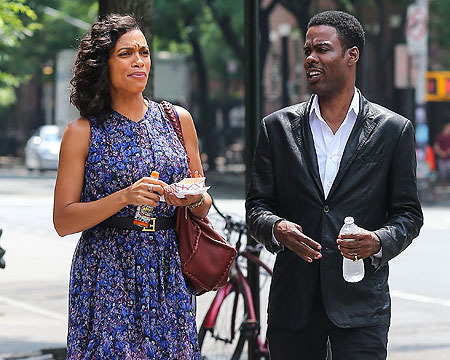 Rosario Dawson and Chris Rock were snapped on the NYC set of their film,…