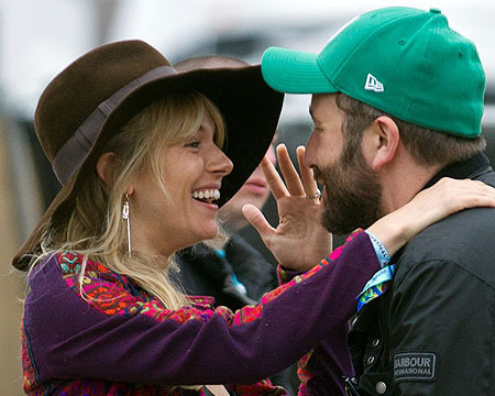 Sienna Miller and Chris O'Dowd greeted each other at Glastonbury festival in…