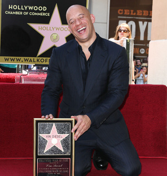 Vin Diesel received a star on the Hollywood Walk of Fame on Monday.