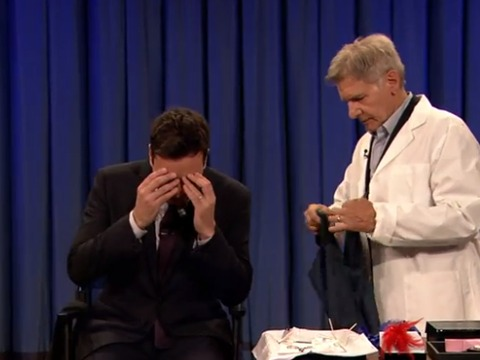 Big Boy Scared of Needles! Harrison Ford Pierces Jimmy Fallon's Ear on 'Late…
