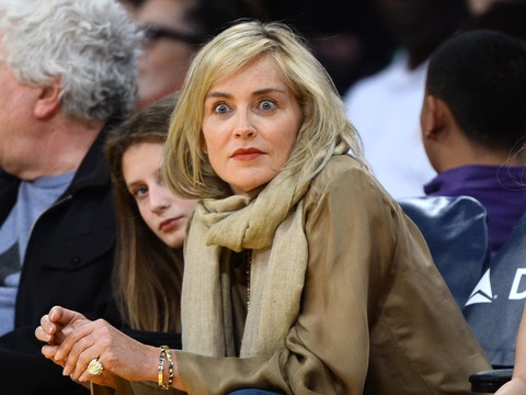 Sharon Stone was spotted enjoying an L.A. Lakers game.