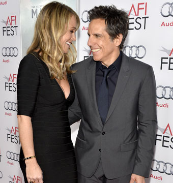 "Christine Taylor and Ben Stiller shared a laugh on ""The Secret Life of Walter…"