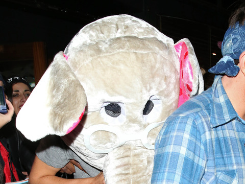 Harry Styles dressed up as an elephant at London's Groucho Club.
