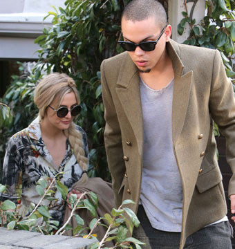 Ashlee Simpson and Evan Ross stopped by a friend's house in Hollywood.