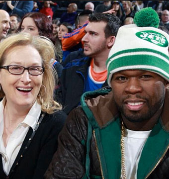 Pic! Meryl Streep and 50 Cent 'Two Peas in a Pod' at Knicks vs. Lakers Game