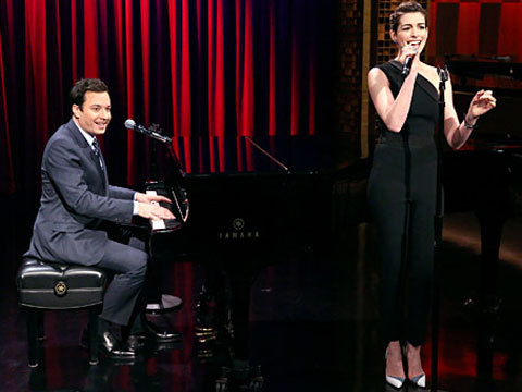 Anne Hathaway and Jimmy Fallon Give Rap Songs the Broadway Treatment