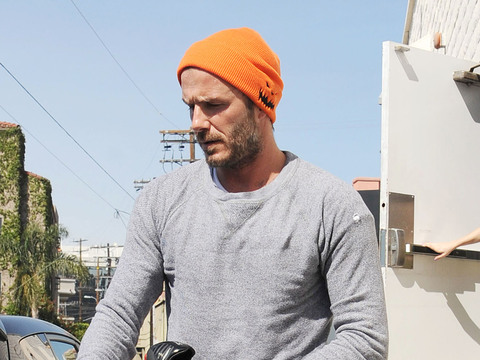Soccer star David Beckham left SoulCycle after a morning workout on Thursday.