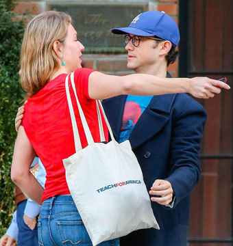 Joseph Gordon-Levitt met up with a friend outside The Bowery Hotel in NYC.